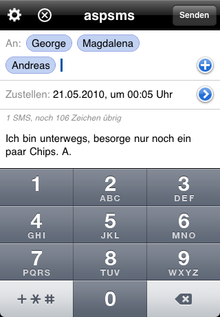 SMS touch for aspsms