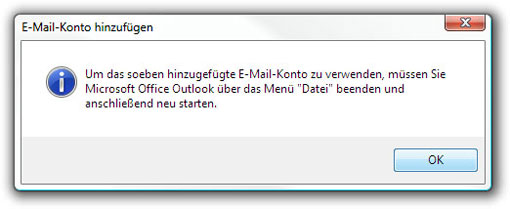 Outlook neu starten.