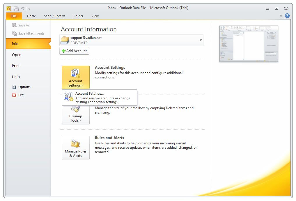 how to set up micorsoft outlook 2010